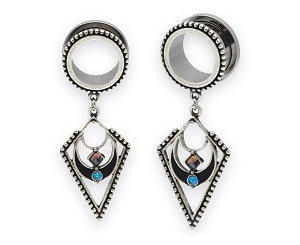 316L Steel Screw on Plugs with Tribal Spear Dangle