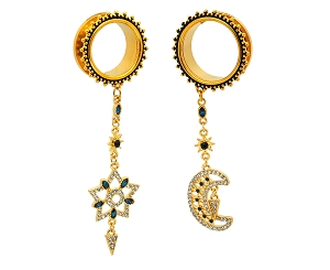 316L Surgical Stainless Steel Dangle Tunnels with Gold Moon/Star