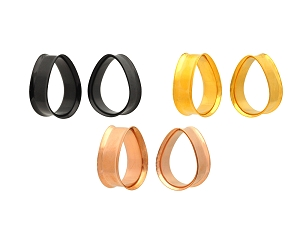 Pair of Colored Steel Double Flare Teardrop Tunnels