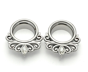 316L Stainless Steel Single Flare Tunnels with Filigree and CZ