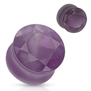 Amethyst Faceted Gem Cut Double Flare Stone Plugs