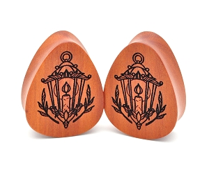 Laser Engraved Wood Lantern Teardrop Plugs