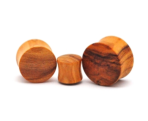 Olive Wood Double Flare Plugs