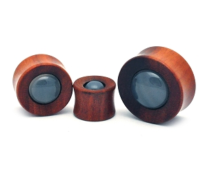 Saba Wood Concave Plugs with Grey Agate Stone