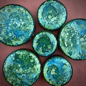 *Limited Stock* Pair of Green and Aqua Swirl Resin Plugs