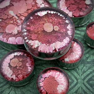 Red and Pink Volcanic Swirl Resin Plugs