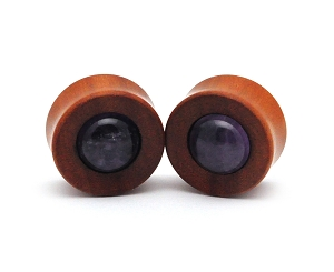 Saba Wood Concave Plugs with Amethyst
