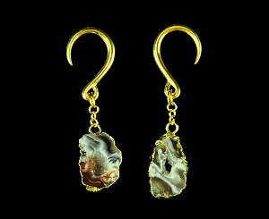 Brass Hook Ear Weights with Dangling Black Agate Slice