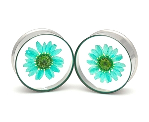 Embedded Blue Chrysanthemum Flower Resin Plugs