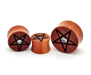 Laser Engraved Saba Wood Pentagram Plugs with Center CZ