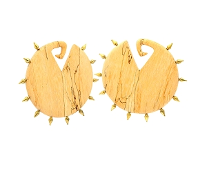 Pair of Round Tamarind Wood Ear Weights with Brass Spikes Style 1