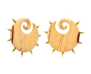 Pair of Round Tamarind Wood Ear Weights with Brass Spikes Style 2