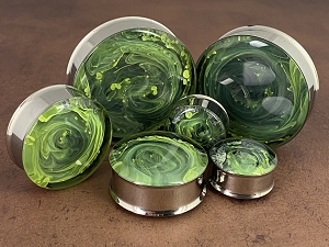 *LIMITED STOCK* Green and Yellow 'Lemon-Lime' Swirl Resin Plugs