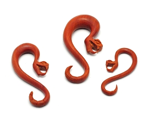 Hand Carved Saba Wood Snake Hangers