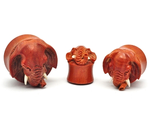 Hand Carved Saba Wood Elephant Plugs