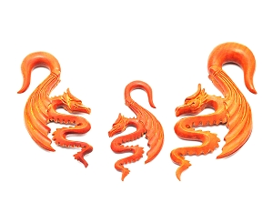Hand Carved Saba Wood Fantasy Dragon Hangers