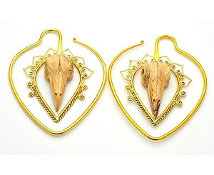 Handmade Brass Ear Weights with Crocodile Wood Raven Skull