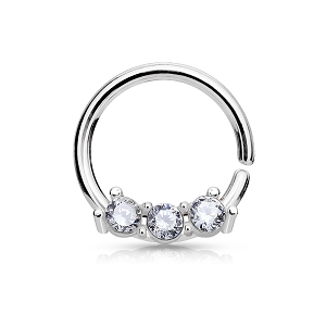 Steel Bendable Septum/Cartilage Rings with Three CZ