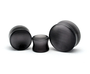 Concave Dark Grey Cat's Eye Stone Double Flare Plugs