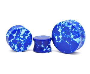 Blue Jasper Stone Double Flare Plugs