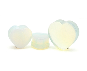 Opalite Stone Double Flare Heart Shaped Plugs