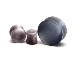 Grey Cat's Eye Double Flared Concave Plugs