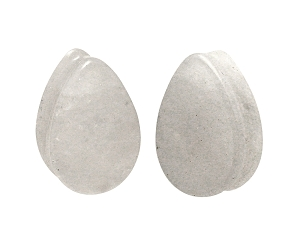 Cloudy Quartz Stone Teardrop Plugs