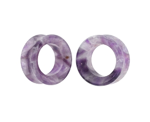 Amethyst Stone Double Flare Concave Tunnels