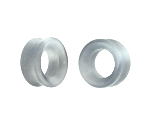 Grey Cat Eye Stone Double Flare Concave Tunnels