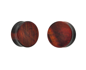 Synthetic Red and Black Howlite Double Flare Plugs