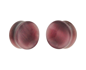 Purple Cat Eye Stone Double Flare Concave Plugs