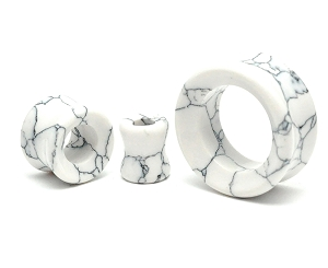 Howlite Stone Concave Double Flare Tunnels