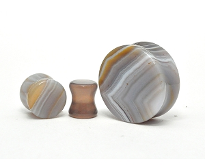 Grey Striped Agate Stone Double Flare Plugs