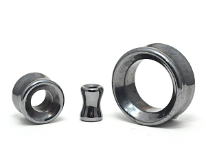 Concave Hematite Stone Double Flare Tunnels
