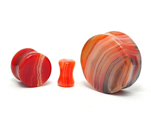 Red Line Agate Stone Double Flare Plugs