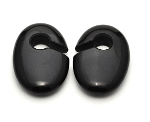 Black Obsidian Stone Oval Ear Weights