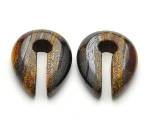 Rainbow Jasper Stone Keyhole Ear Weights
