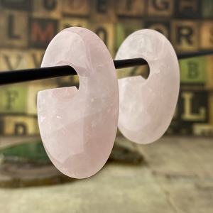 Rose Quartz Stone Oval Ear Weights