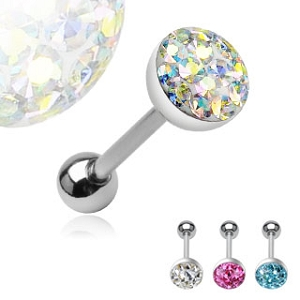 316L Stainless Steel Tongue Barbell With Ferido Paved Gem Dome Top