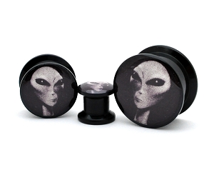 Black Acrylic Alien Picture Plugs