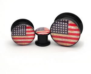 Black Acrylic American Flag Picture Plugs