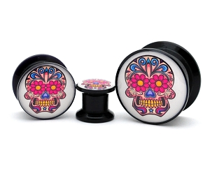 Black Acrylic Day of the Dead Style 2 Picture Plugs