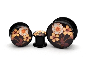 Black Acrylic Flower Style 4 Picture Plugs