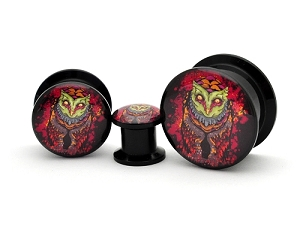 Black Acrylic Reaper Owl Picture Plugs