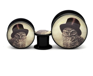 Black Acrylic Steampunk Owl Picture Plugs