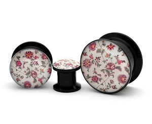 Black Acrylic Vintage Floral Style 1 Picture Plugs