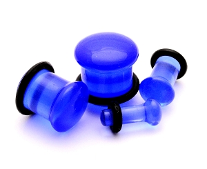 Blue Single Flare Glass Plugs