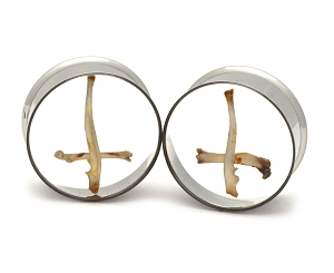 Embedded Rodent Bone Cross Clear Resin Plugs