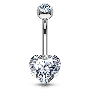 316L Surgical Steel Navel Ring With Prong Set Heart CZ