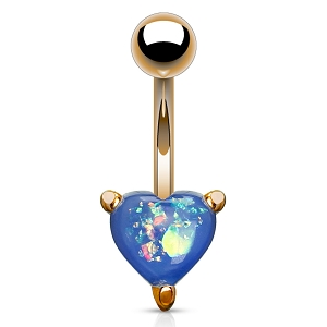 316L Rose Gold Surgical Steel Navel Ring With Opal Glitter Heart